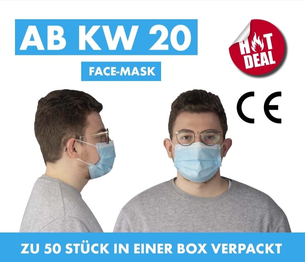 Maske bedruckt mit Logo